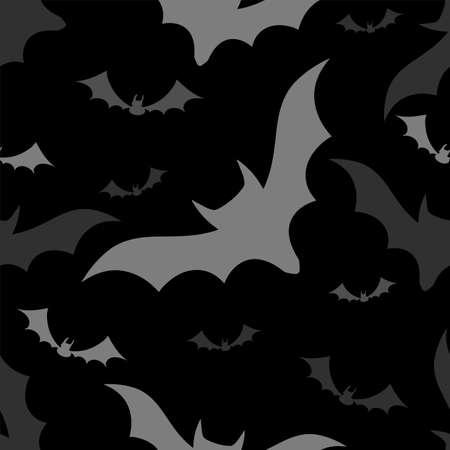 Halloween bats seamless pattern on black background