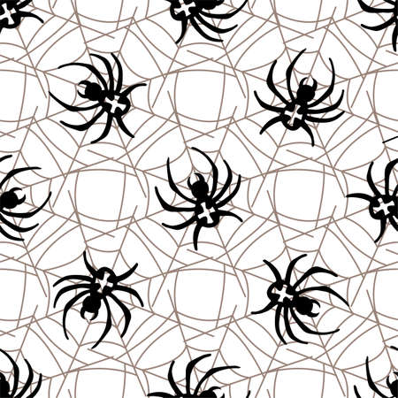 threads: Spiders on Webs seamless pattern on white background