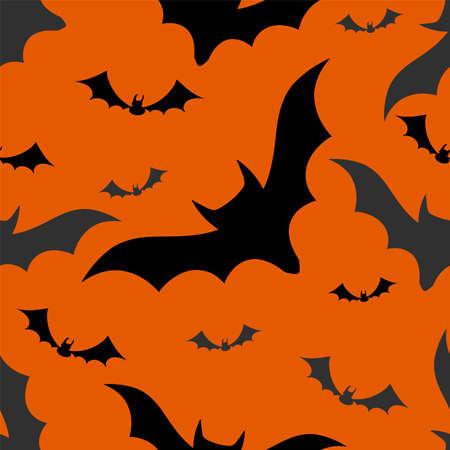 spook: Halloween bats seamless pattern on orange background