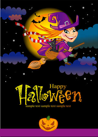hag: Halloween greeting card with witch Illustration
