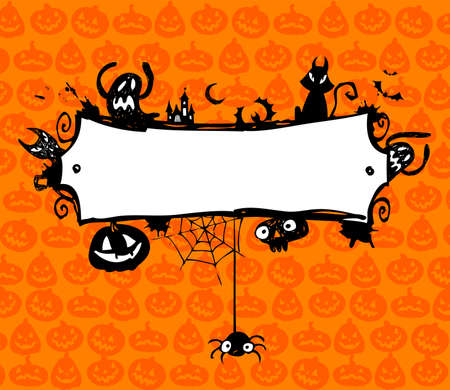 jack o: Halloween vector frame with silhouettes of bats, cat, jack o lantern Illustration