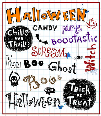 treat: Various inscriptions for a holiday the Halloween in style of sketches