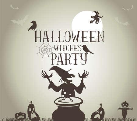 brujas caricatura: Fiesta de Halloween de las brujas Cartel en formato vectorial