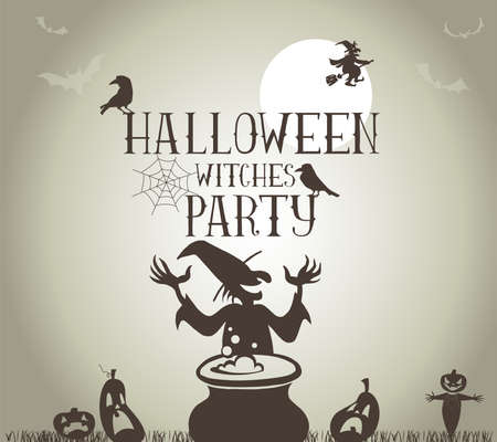 witch hat: Halloween Witches Party Poster in vector format