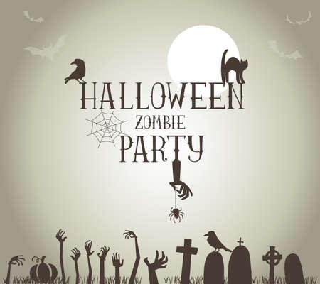 Halloween Zombie Party Poster in vector format