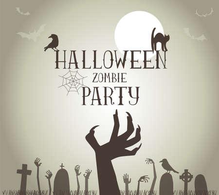 벡터 형식으로 할로윈 좀비 파티 포스터 일러스트