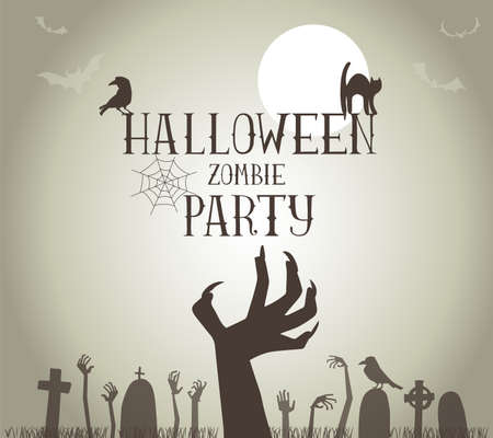 hand silhouette: Halloween Zombie Party Poster in vector format