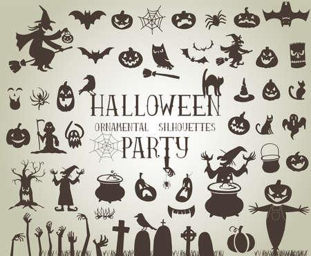 brujas caricatura: Conjunto de siluetas de fiesta de Halloween