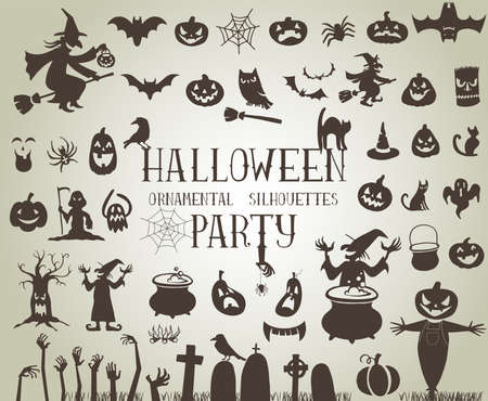 witch on broom: Set of silhouettes for Halloween party Illustration