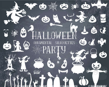 Set of silhouettes for Halloween party Vettoriali