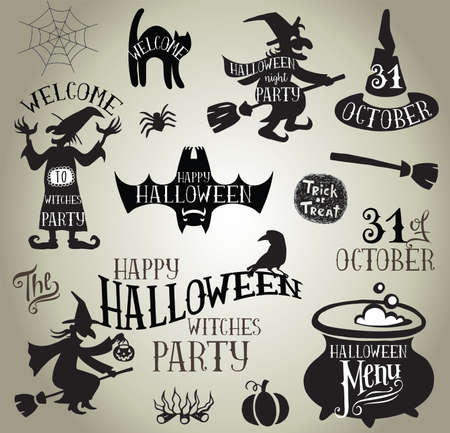 Set of Calligraphic Designs VIntage Vector silhouettes for Halloween Witches party