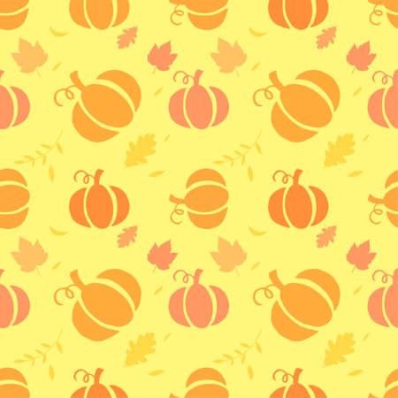 pumpkin patch: Seamless background with pumpkins on orange background. vector illustration