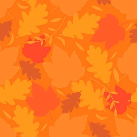 autmn: Seamless background with autumn leaves on orange background. vector illustration Illustration
