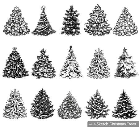 tree line: 15 designs in one file. To create holiday cards, backgrounds and decorations.
