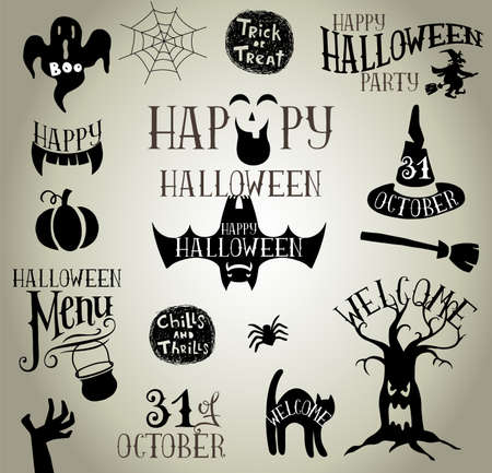 discoteque: Set of Calligraphic Designs VIntage Vector silhouettes for Halloween party