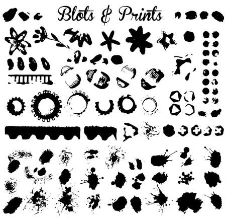 black ink: Elements for grunge design and ink blots isolated on white background, vector image.