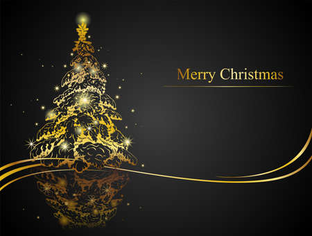 Modern golden Christmas tree - Possible to create holiday cards and ornaments. Çizim