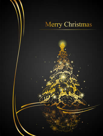 Modern golden Christmas tree - Possible to create holiday cards and ornaments. Vettoriali