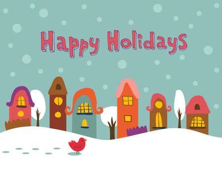 winter weather: Fairy tale winter landscape vector illustration.