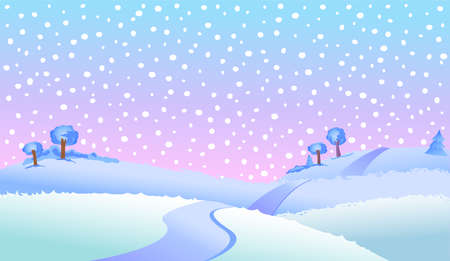 ice: Fairy tale winter landscape vector illustration.