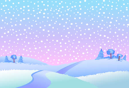 wintery day: Fairy tale winter landscape vector illustration.