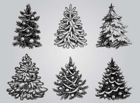 boceto: Siluetas de árbol de Navidad paquete de vectores para crear tarjetas para las fiestas, fondos y adornos. Vectores