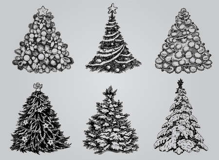white christmas tree: Silhouetted Christmas Tree Vector Pack to create holiday cards, backgrounds and decorations. Illustration