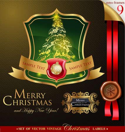 tarjeta de invitacion: sello de Navidad para tarjetas de felicitaci�n, banners, presentaciones, decoraciones. F�cil de editar todas las piezas est�n separadas.