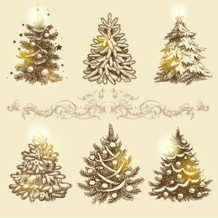 painting style: Set of beautiful Christmas ornaments. To create holiday cards, backgrounds, ornaments and decoration. Illustration