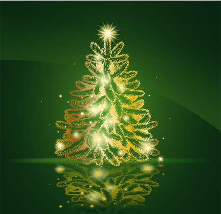 green and black: Modern golden Christmas tree - Possible to create holiday cards and ornaments. Illustration