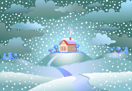 wind dramatic sky: Landscape with the small house on snowy day, a vector illustration. Illustration