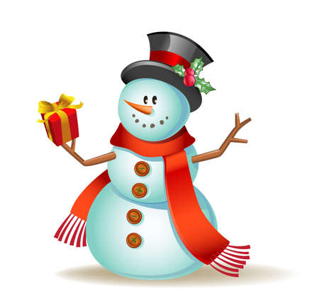 invitation: Vector illustration of a Cute snowman with gift in a hand.