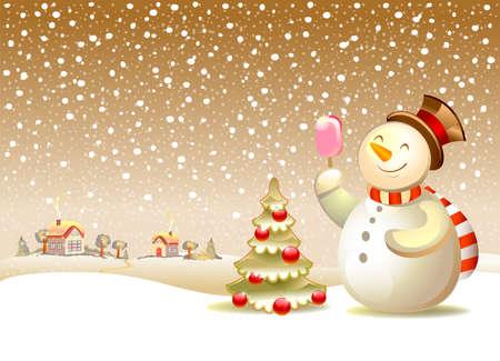 Christmas vector illustration - Snowman with ice cream