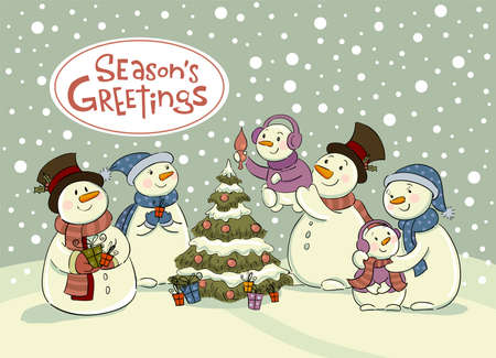 furtree: The family of snowmen dresses up a fur-tree , Vector illustration for banners, backgrounds and decorations.
