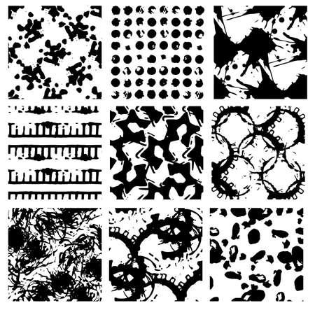 blackandwhite: Grunge seamless backgrounds, nine black-and-white detailed patterns