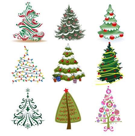 크리스마스 카드, 배경, 장식을 만드는 크리스마스 나무의 집합입니다.