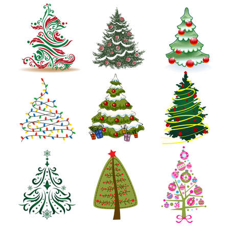 christmas backgrounds: Set of Christmas Trees to create holiday cards, backgrounds and decorations.
