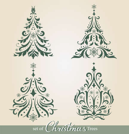 evergreen tree: Set of beautiful ornamental Christmas Trees to create holiday cards, backgrounds and decoration.