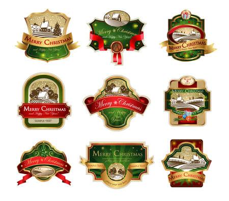 navidad elegante: Etiquetas de Navidad con paisaje invernal precioso para las tarjetas de felicitación, banners, presentaciones, decoraciones. Fácil de editar todas las piezas están separadas.