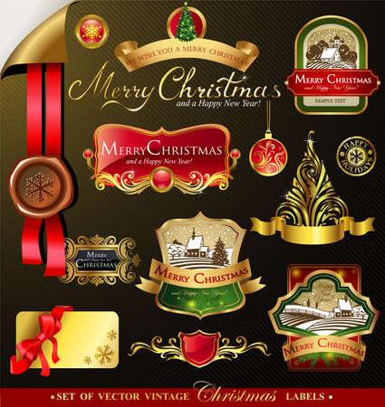 tarjeta de invitacion: Etiquetas de Navidad con paisaje invernal precioso para las tarjetas de felicitaci�n, banners, presentaciones, decoraciones. F�cil de editar todas las piezas est�n separadas.