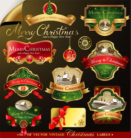 editable: Christmas labels with lovely winter landscape for greeting cards, banners, presentations, decorations. Easy to edit all pieces are separated. Illustration