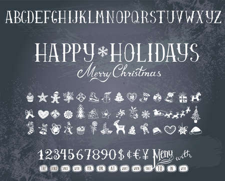decorative design: Trendy hand-drawn Holiday decorations, alphabet  and  numbers on a blackboard.