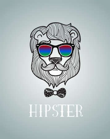 lijntekening: Hipster lion vector illustration, all elements separated.