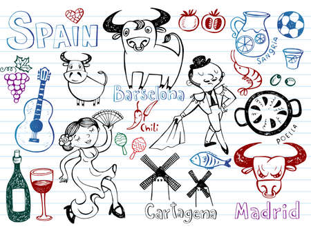 spanish bull: A set of Spain symbols and landmarks, vector illustration.
