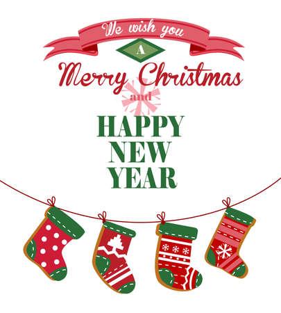 Nette Weihnachtsgrußkarte mit den Socken auf einem Seil für Banner und Dekorationen hängen.