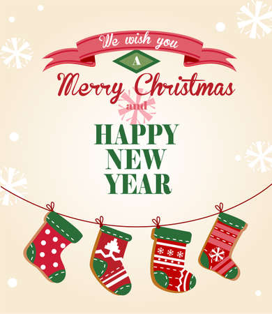 Cute Christmas greeting card with the socks hanging on a rope for banners and decorations. Illustration