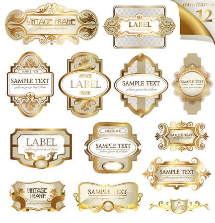 Vector etiquetas de armazón de oro ornamentales fijados. Fácil de escalar y editar. Todas las piezas se separan.