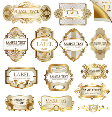 label design: Vector white gold-framed  ornamental labels set. Easy to scale and edit. All pieces are separated.