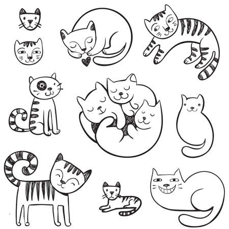 sleeping animals: Cute hand-drawn doodle cats with different emotions.