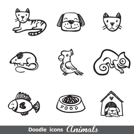 doodled: Doodled icons with pets for any project.